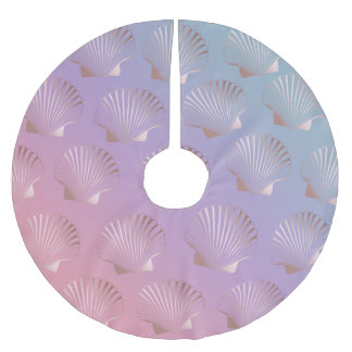 Girly rose gold seashell pattern colorful gradient brushed polyester tree skirt
