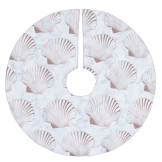 Girly rose gold seashell pattern & white marble brushed polyester tree skirt