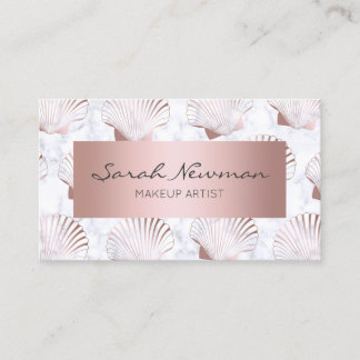 Girly rose gold seashell pattern & white marble business card