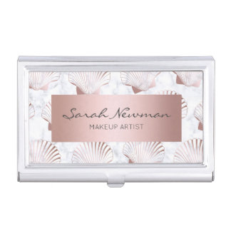 Girly rose gold seashell pattern & white marble business card case