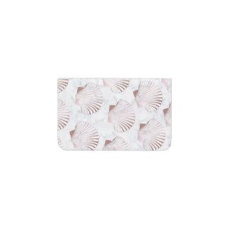 Girly rose gold seashell pattern & white marble business card holder