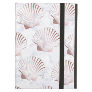 Girly rose gold seashell pattern & white marble case for iPad air