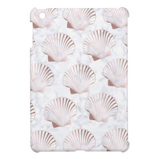 Girly rose gold seashell pattern & white marble case for the iPad mini