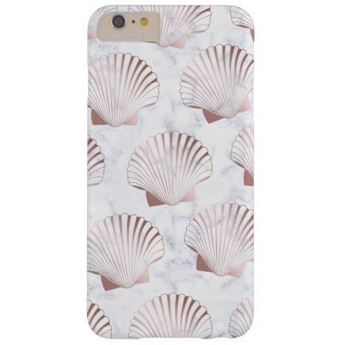 Girly rose gold seashell pattern & white marble Phone Case