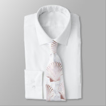 Girly rose gold seashell pattern & white marble neck tie