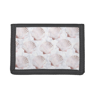 Girly rose gold seashell pattern & white marble trifold wallet