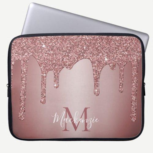 Girly Rose Gold Sparkle Glitter Drips Monogram Laptop Sleeve