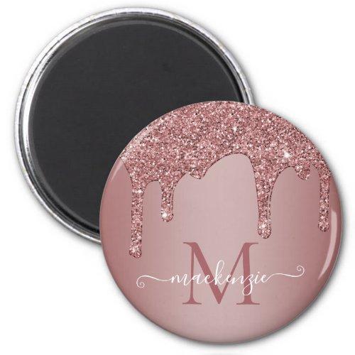 Girly Rose Gold Sparkle Glitter Drips Monogram Magnet