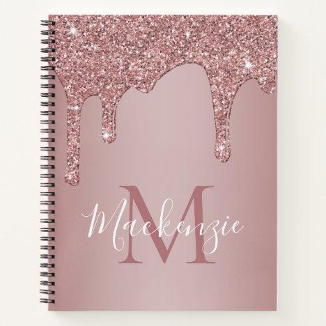 Girly Rose Gold Sparkle Glitter Drips Monogram Notebook