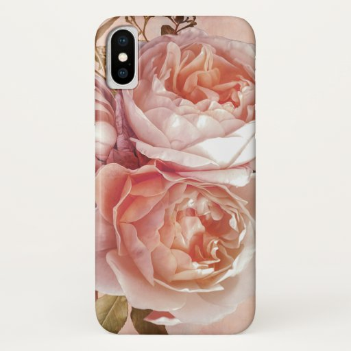 Girly Rose & Peony Elegant Modern Floral iPhone X Case