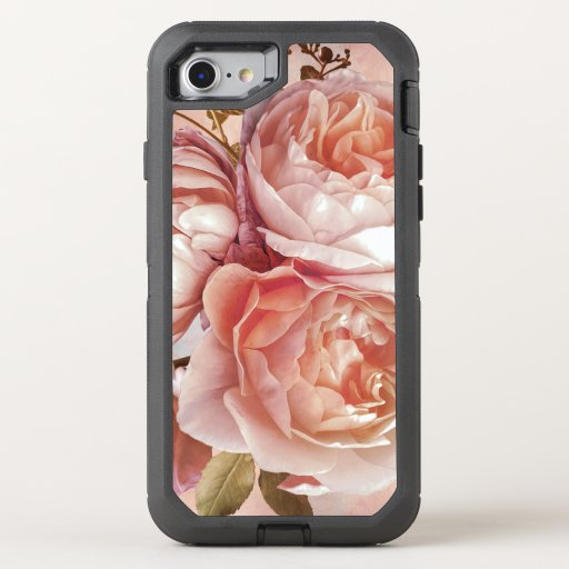 Girly Rose & Peony Elegant Modern Floral OtterBox Defender iPhone 8/7 Case