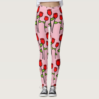 Girly Roses Pattern Leggings