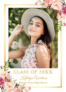 High school graduation party invitations announcements zazzle girly rustic floral gold photo graduation party invitation filmwisefo