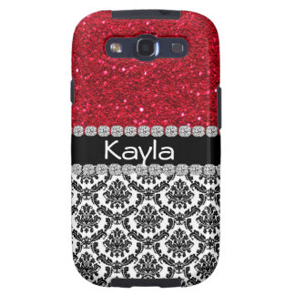 GIRLY SAMSUNG3 CRYSTAL FAUX  Damask Design CASE Galaxy S3 Covers