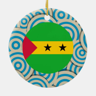 Girly Sao Tomean Flag Gift Double-Sided Ceramic Round Christmas Ornament