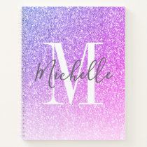 Girly Script Purple Pink Glitter Sparkles Monogram Notebook