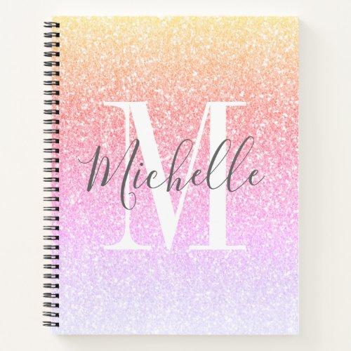 Girly Script Rainbow Glitter Sparkles Monogram Notebook