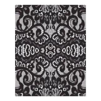 girly shabby chic bohemian black lace letterhead