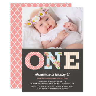 Girly Shabby Chic First Birthday Photo Invitation