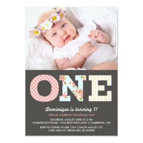 Girly Shabby Chic First Birthday Photo Invitation 5