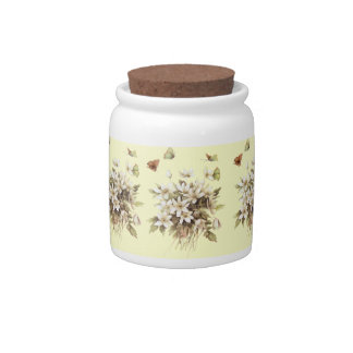 Girly shabby chic French Country floral wildflower Candy Jar