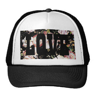 girly shabby chic vintage flowers black floral trucker hat