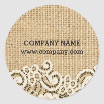 Girly Shabby chic western country burlap lace Classic Round Sticker