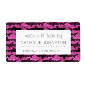 Girly Sharks Hot Pink Shipping Label