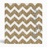 Girly shining Gold Faux glitter effects zigzag 3 Ring Binders