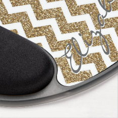 Girly shining Gold Faux glitter effects zigzag Gel Mouse Pad at Zazzle