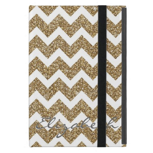 Girly shining Gold Faux glitter effects zigzag Cover For iPad Mini