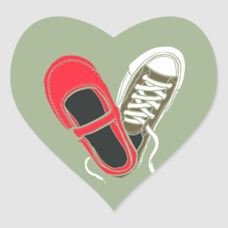 Girly Shoes & Sneakers Heart Wedding (Camo) Heart Sticker