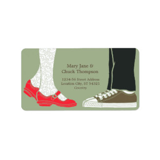 Girly Shoes & Sneakers Illustrated Wedding (Camo) Label