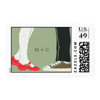 Girly Shoes & Sneakers Illustrated Wedding (Camo) Postage