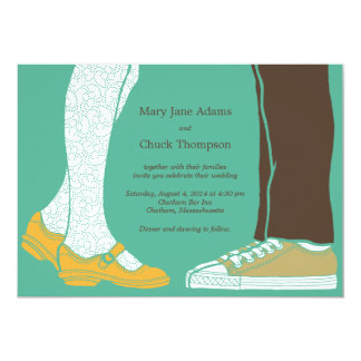 Girly Shoes & Sneakers Illustrated Wedding (Mint) Card