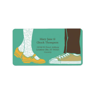 Girly Shoes & Sneakers Illustrated Wedding (Mint) Label