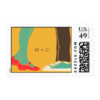 Girly Shoes & Sneakers Illustrated Wedding Yellow Postage