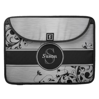 Girly Silver Black Floral Swirls Monogram Name Sleeve For MacBook Pro