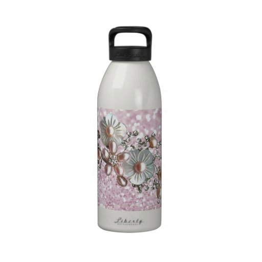 Girly Silver Cute Pink And White Flowers Drinking Bottle