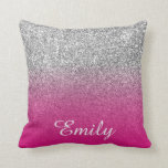 "Girly Silver Glitter Hot Pink Personalized Throw Pillow<br><div class=""desc"">Personalized elegant white handwritten cursive font text design. Trendy silver glitter printed photo background. Girly hot pink ombre design overlay. Change the font style, size or choose your favorite color. Customize the text to design a monogram, or add an initial to create name combination. Create your own case and/or make...</div>"
