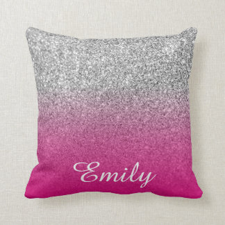 Girly Silver Glitter Hot Pink Personalized Throw Pillow