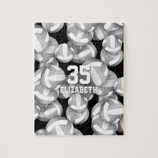Girly silver gray white volleyballs pattern jigsaw puzzle