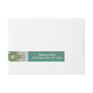 girly Silver pearl green faux Diamond bling Wraparound Address Label