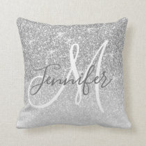 Girly Silver Sparkle Glitter Grey Monogram Name Throw Pillow