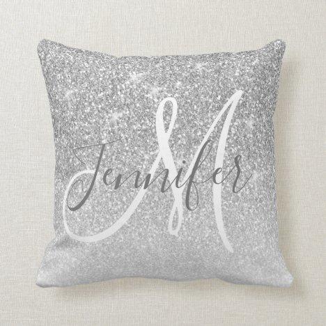 Girly Silver Sparkle Glitter Grey Monogram Name Throw Pillow