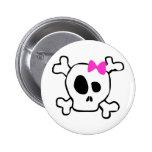 Girly skull 2 inch round button