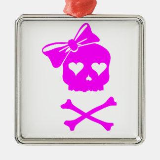 Girly Skull and Cross Bones Metal Ornament