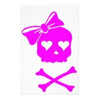 Girly Skull and Cross Bones Customized Stationery