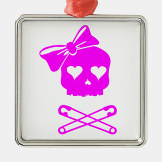 Girly Skull and Crossed Safety Pins Metal Ornament