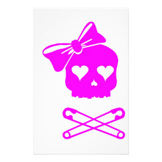 Girly Skull and Crossed Safety Pins Personalized Stationery